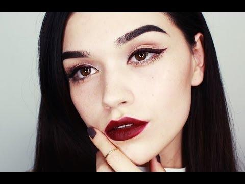 Burgundy eyeliner/lips makeup tutorial