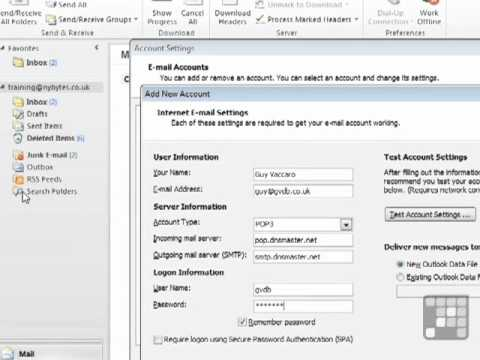Outlook 2010 Tutorial - How to Add a POP Mail Account