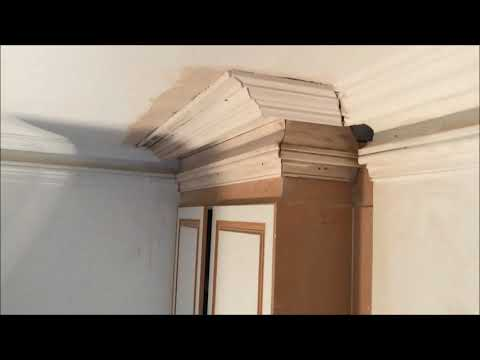Installing a large two piece Victorian cornice up to existing original cornice