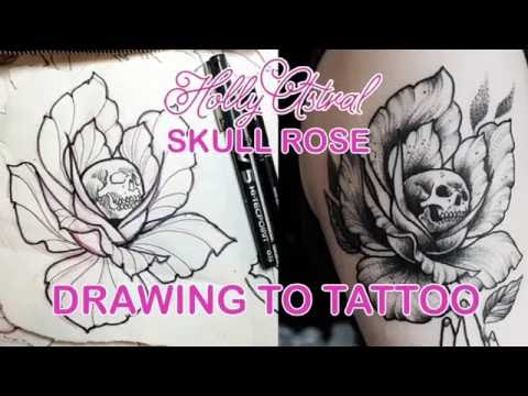 Drawing to tattoo: Skull Rose