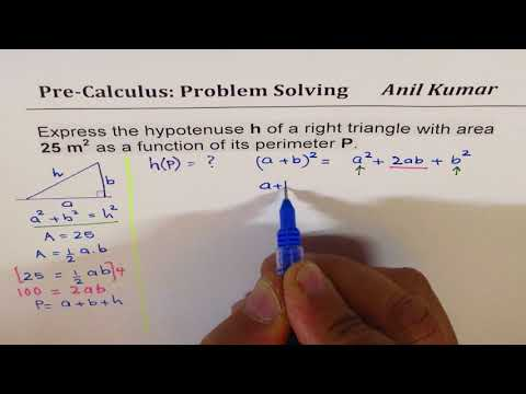 PreCalculus How to relate hypotenuse to Perimeter of Right Triangle with 25 m^2 Area