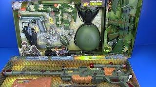 Box of Toys ! Military equipment - Military Gun Weapon Toys for kids ! Machine gun Toys