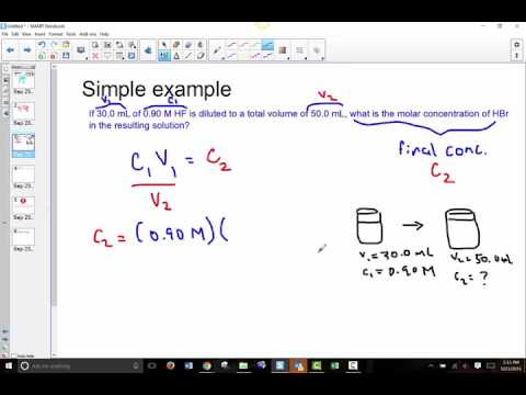 Chem 11 Unit 5: Dilution Calculations: Solving for Final Concentration