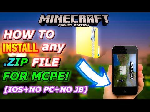 MCPE HOW TO INSTALL ANY .ZIP FILE ON iOS! [NO PC/NO JAILBREAK]