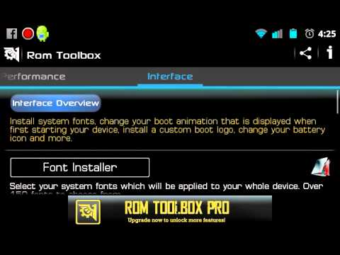 How to change the font on rooted droid rom toolbox