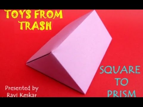 SQUARE TO PRISM - HINDI - Fold a beautiful Prism from a Square.