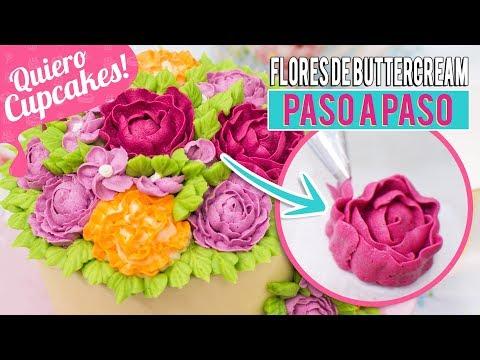 CÓMO HACER FLORES DE BUTTERCREAM PARA TARTAS O CUPCAKES | Quiero Cupcakes!