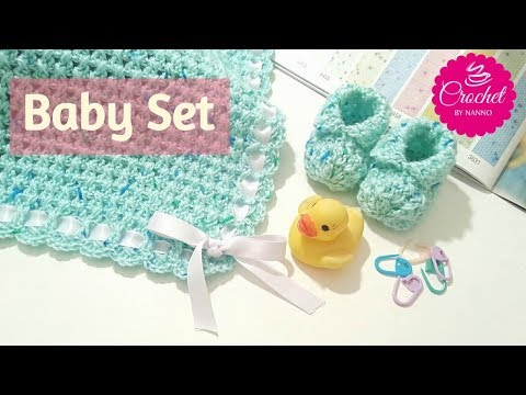 HOW TO CROCHET A BABY BLANKET #1 Very Fast & Easy  Baby Shower Set |☕ The Crochet Shop