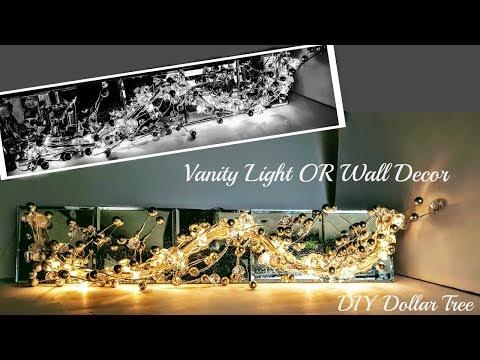 DIY Dollar Tree VANITY LIGHT -  GLAM MIRROR