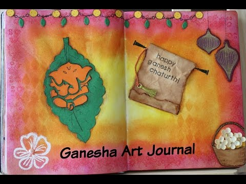 Ganesha Art Journal Part1 using die cutting, distress inks, stenciling and paper piecing.