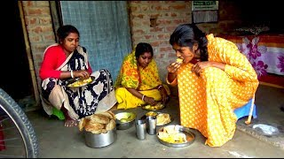 Indian Village Women Cooking #Very good Food of Afternoon Luchi with Potato Curry #Rural Women