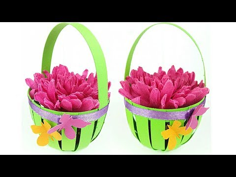 How to make Easter Basket decoration ideas with paper / bag paper craft easy tutorial Flower Basket