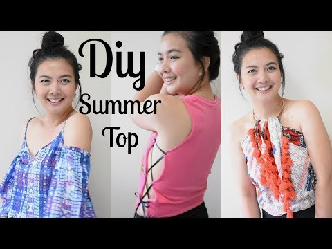3 UpCycle DIY Summer Top /Off The Shoulder, Scarf Wrap Top,Open Side Lace Up