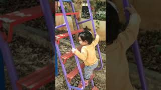 Aarvi Enjoying big slide in garden | got saved by her Mother in last step ✌️ | 🐵