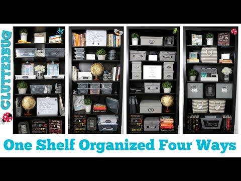 Dollar Store Organizing Ideas - One Shelf Organized Four Ways