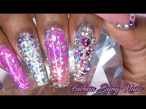 Fuchsia Bling Acrylic Nails with Nail Piercing | Acrylic Fill In | LongHairPrettyNails