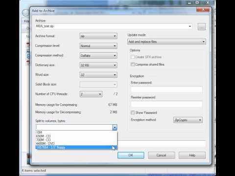 Splitting Files into 9MB segments using 7-Zip