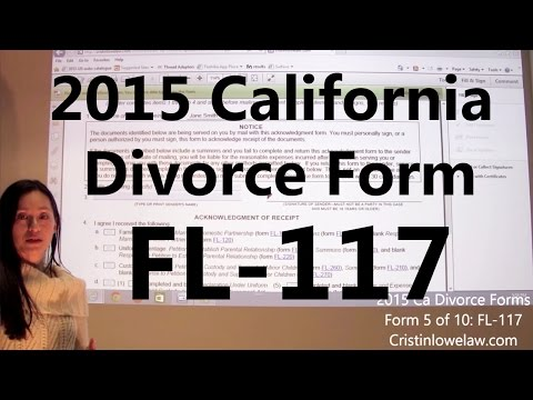 Filing California Divorce Forms: Form 5 of 10 the FL-117