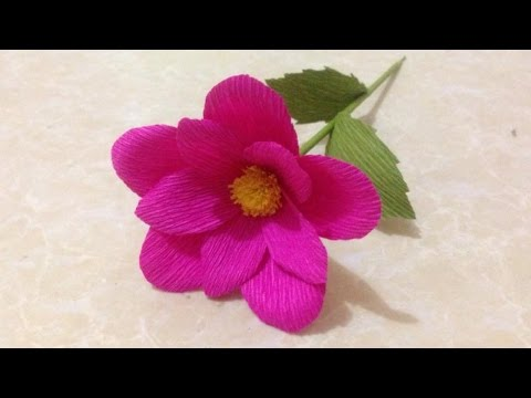 How to Make Simple Crepe Paper flowers - Flower Making of Crepe Paper - Paper Flower Tutorial