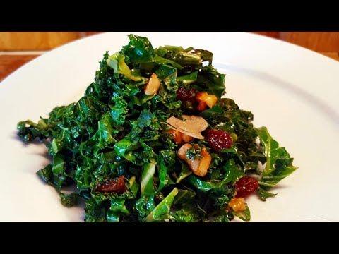 Sauteéd Kale with Raisins and Walnuts Recipe
