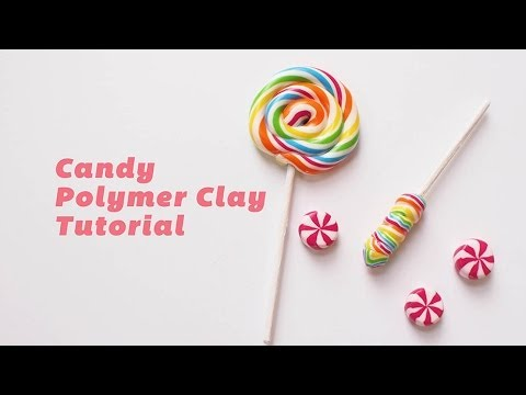 How to make Rainbow Lollipop and Candy - Polymer Clay Tutorial 棒棒糖糖果黏土製做教程