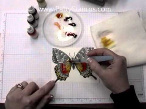 Watercolor Tutorial for Swallowtail stamped card