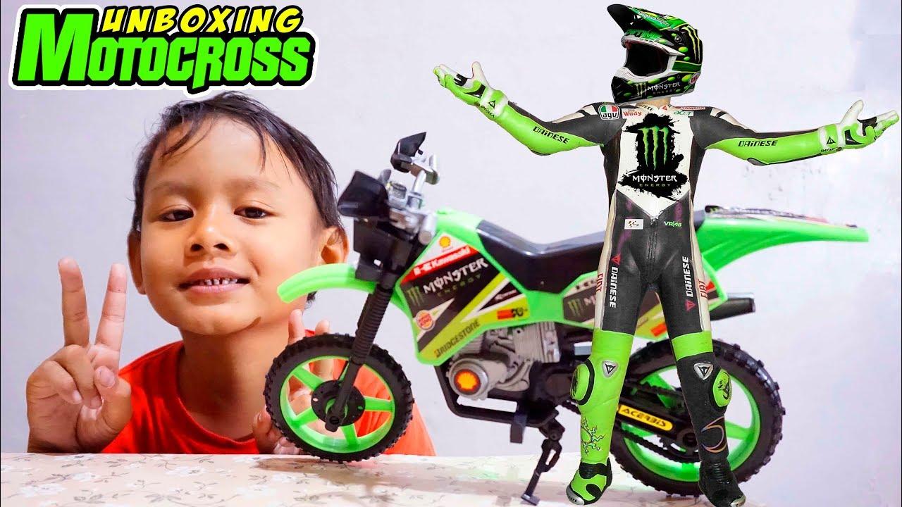 Unboxing Mainan Motor Trail Kawasaki | Motor cross Mini Anak Kecil Kawasaki