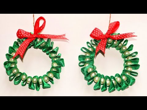 DIY Christmas Ornaments | Ribbon & Pearl Wreath | Christmas Tree Decorations