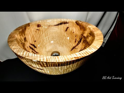 Woodturning : Curly Sink with alumilite