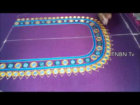 how to make mirror work blouse | simple maggam work blouse designs, hand embroidery stitches flowers