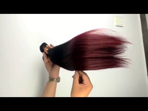 Ombre Hair Straight 1B/99J Hair Weave Bundles Human Hair