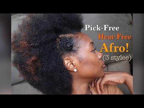 3 Afro styles on Short to Long Natural Hair| No Pick! NO HEAT! (Non-Damaging)