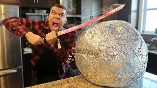 EXPERIMENT Glowing 1000 degree KATANA VS GIANT METAL BALL!