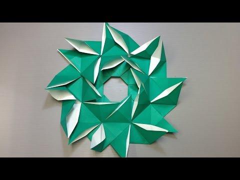 Easy Origami Pinwheel Christmas Wreath