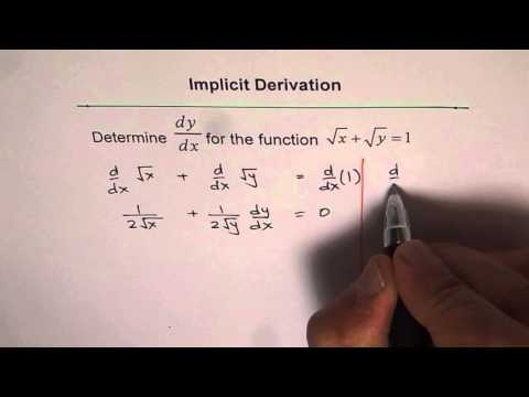 Implicit Derivation x^(1/2) + y^(1/2) = 1 Sum of Square roots