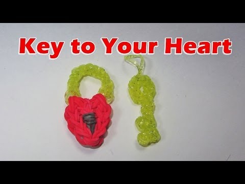 Rainbow Loom: Heart Lock and Key Charm (Valentine's Day)