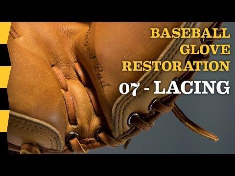 How to Relace a Baseball Glove - 07 LACING - DIY Baseball Glove Repair