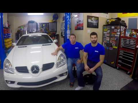 How to change the rear brake pads and flush brake fluid on an SLK55 AMG