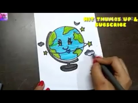 How to Draw Cute Earth!!  Easy step by step for kids || by The Arts Center