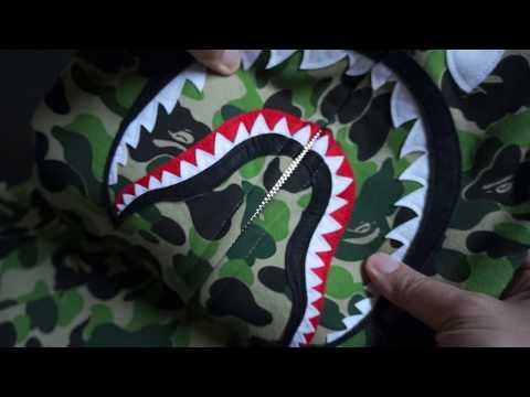 0493270cd58a74 2017 Bathing Ape (BAPE) ABC Camo Green Shark Hoodie Unboxing!