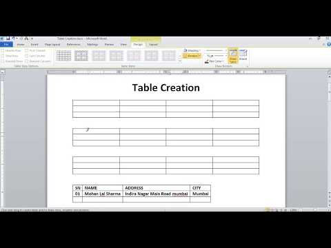 Table Creation in Microsoft Word in Hindi Language