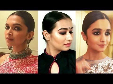 Sleek low bun inspired by Deepika Padukone and Alia Bhatt | Indian Hairstyles for medium/long hair