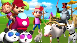 Funny Animals Vehicle Race in Forest with Bike and Monster Truck, Cart   Funny Animals Videos
