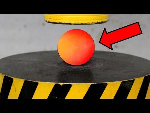 EXPERIMENT Glowing 1000 degree METAL BALL vs HYDRAULIC PRESS 100 TON