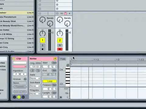 Ableton Live 8 Tutorial 03 (Intro to MIDI and Clips)