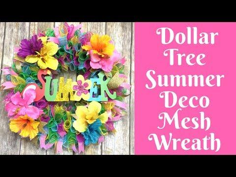 Wonderful Wreaths: Dollar Tree Summer Deco Mesh Wreath