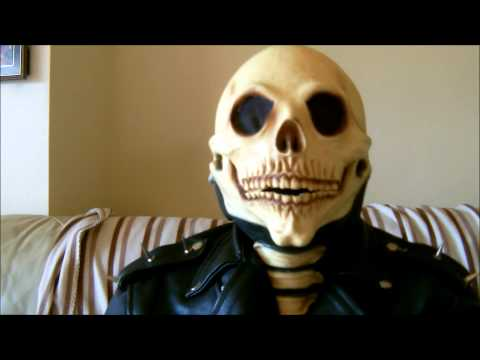 Showing how well my mouth moves with my Ghost Rider Skeleton latex mask