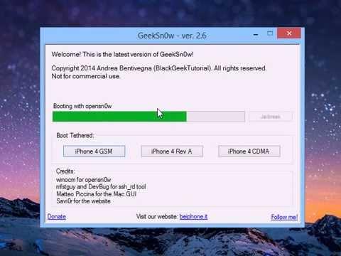 Tutoriel Jailbreak iPhone 4 iOS 7 1 avec Geeksn0w sur Windows 8