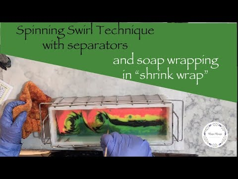 A different Spinning Swirl technique, use of dividers and wrapping a soap in shrink wrap