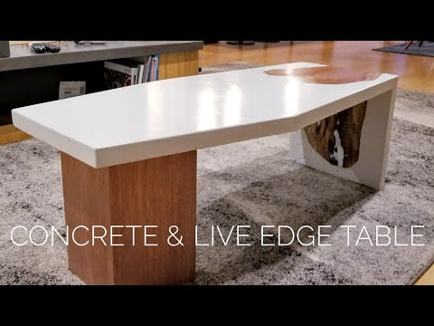 DIY Waterfall Concrete Table w/ Live-Edge Inlay || How to Make (w/ GFRC mix)